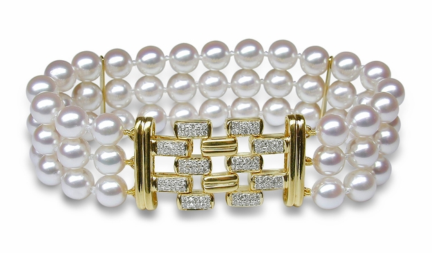 Triple Strand Cultured Pearl Bracelet - $3200