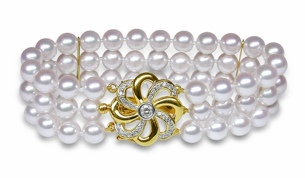 Triple Strand Cultured Pearl Bracelet