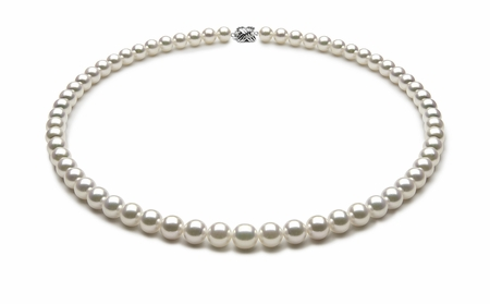 TRUE AAA Quality 6.5 x 7mm Natural White Akoya Cultured Pearl Necklace