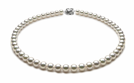 TRUE AAA Quality 7.5 x 8mm White Akoya Cultured Pearl Necklace