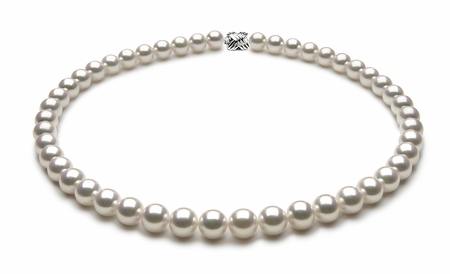 TRUE AAA Quality 9 x 9.5mm White Akoya Cultured Pearl Necklace
