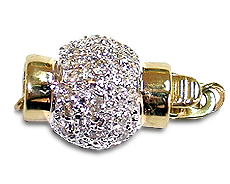 Two Tone 14K Gold and Diamond Ball Clasp