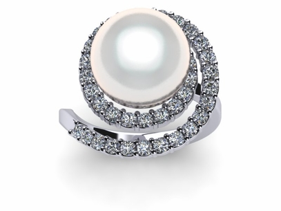 radiance wedding shell tier and diamond engagement rings unique mother of white pearl shimmering ring