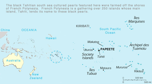 Where Black Tahitian South Sea Cultured Pearls Origtinate From