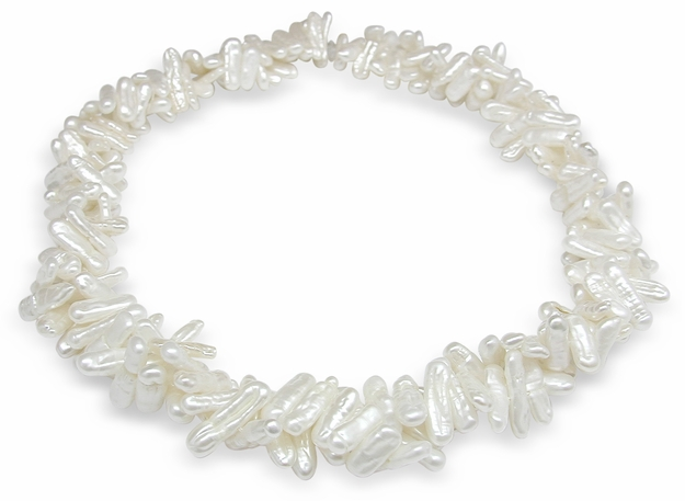 White Branch Multi Strand Shape Freshwater Pearl Necklace