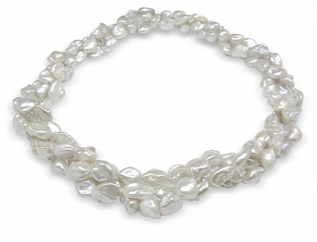White Multi Strand Freshwater Biwa Nugget Pearl Necklace