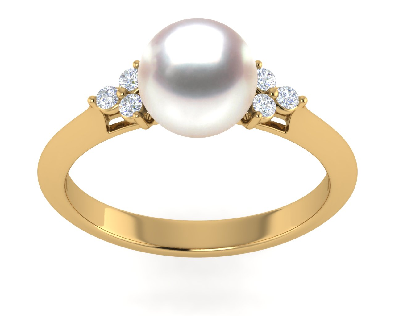 White Rose Akoya Pearl Little Princess Ring American Pearl