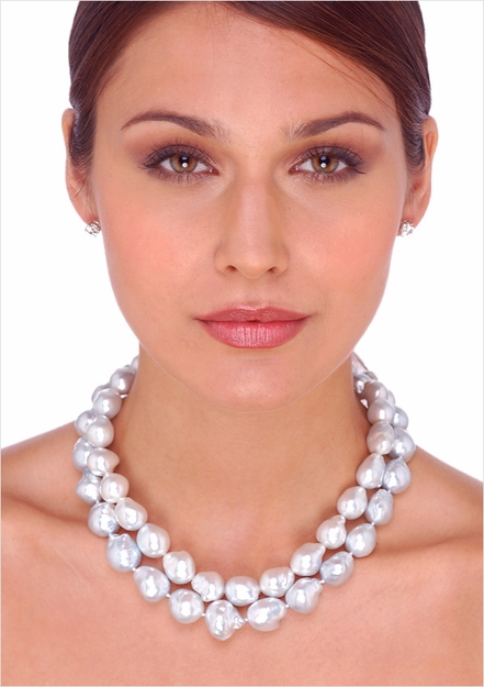 White South Sea Baroque Cultured Pearl Necklace - 16 inches