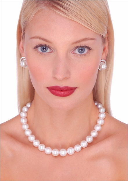 White South Sea Cultured Pearl Necklace - 16 inches
