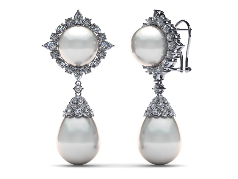 White South Sea Pearl Diamond Star Cer Earring