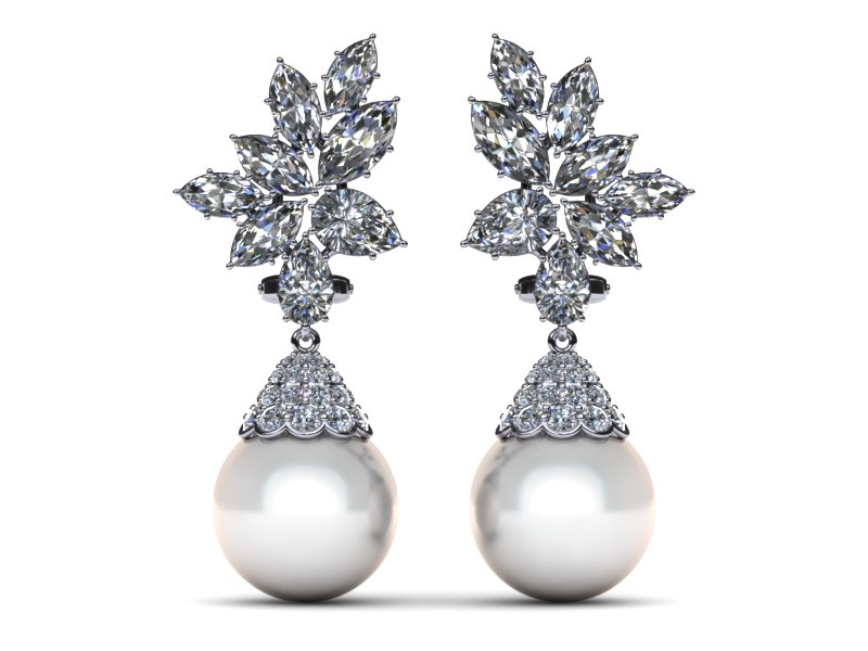 White South Sea Pearl Earring Cer Diamond Cap Style 4 37 Carats T Dw American