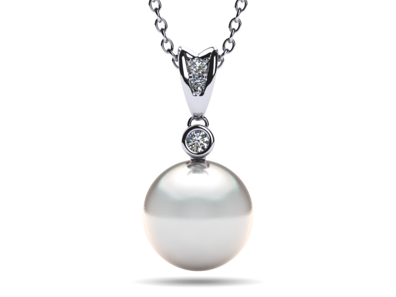 14k white gold diamond south sea pearl single pearl pendant white south sea single pearl pendant aloadofball Gallery