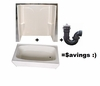 "27"" x 54"" Fiberglass Tub & Fiberglass Surround Combo Kit"