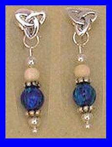12th Century Celtic Earrings IIBlue Lapis Bead With Mammoth Ivory Bead$52.50