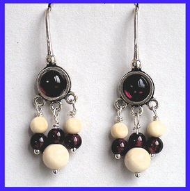 AleutSpirit DanceEarrings IGarnet and Mammoth Ivory Beads$54.50