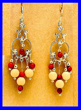 AleutSpirit DanceEarrings IVMammoth Ivory And Red Trade Beads$69.50