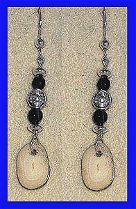 Aleut Woman Shaman'sEarrings IIFossil Walrus With Garnet Beads$25.50