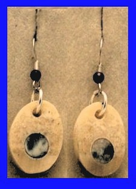Arctic Moon EarringsRare Blue and Light Fossil Walrus Ivory$53.50