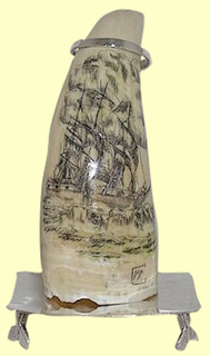 "Available only within the state of Maryland!""Ship Alice Hard Ashore - 1909""Scrimshawed Whales ToothWIthSterling SilverStand"
