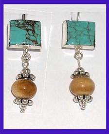 Bering Sea Yupik - Koskokwim DeltaCeremonial EarringsTurquoise and Mammoth Ivory$39.50