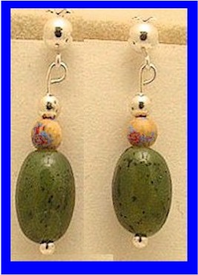 Bering Sea Yupik - Koskokwim DeltaEarrings IIICanadian Jade With Mammoth Ivory Bead$49.50