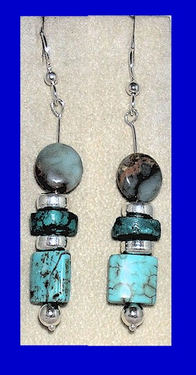 Blue Tlingit DangleEarringsThree colors of Blue Turquoise$34.50