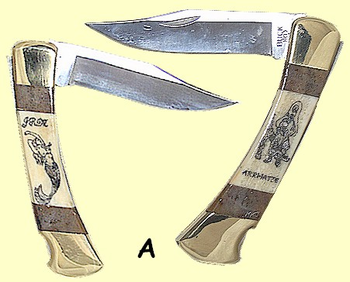 """<b><font size = 4 color =""""#0000FF"""">Buck </font><br>Folding Hunter<br>With Scrimshaw<br>Fossil Ivory<br>Scales<br>4 7/8"""" Closed</b>"""