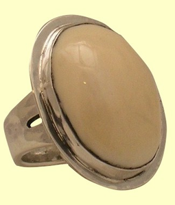 ClassicLarge OvalWoman'sDinner RingSterling SIlveror 14KT GoldWith Fossil Ivory