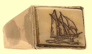 ClassicScrimshawMen's RingSterling SilverWith RectangulaarFossil IvoryOut of Stock