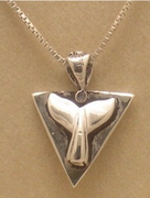 "<b>Contemporary Silver Talisman With Mammoth Ivory Inlay<br><font color =""#0000FF"">Reversible! With Whale Tail!</font></b>"