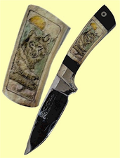 CustomScrimshaw Fossil Walrus Ivory and African Blackwood Skinner