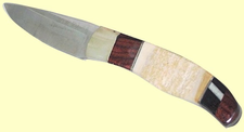 CustomScrimshaw Fossil Walrus Ivory, Burgundy Rosewood and African Blackwood Skinner