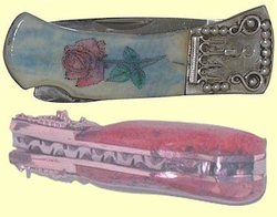 "<b><font size = 4 color =""#0000FF"">Custom</font><br><i>Sterling Silver</i><br>Victorian<br>Scrimshaw<br>Lockback<br>With<br>Fossil Ivory<br>Two Lengths<br>3"" and 4"" Closed</b>"