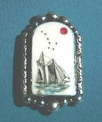 Guiding Star Scrimshaw Pin orPendantWith Ruby