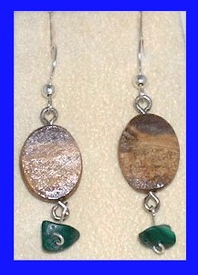 Koryak Earth Spirit EarringsFossil Walrus Ivory and Malachite$34.50