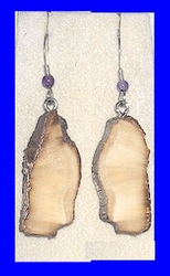 Large Paleo IndianEarringsFossil Walrus Ivory and Amethyst Bead$25.50