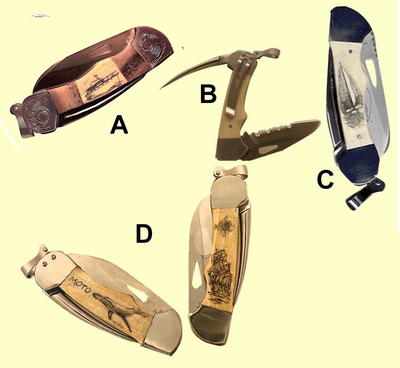 "<b><font size = 4 color =""#0000FF""><i>Myerchin Shacklelock Captain's Model</font><br>Captain's Model</i><br>Sailors'<br>Rigging Knife</i><br>with<br>Marlinspike and Pocket Clip<br>4 3/4 inch closed<br>Hand Engraved Bolsters Available!</b>"