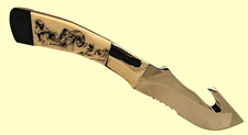 "CustomGuthook Skinner440C High Carbon/Chromium Stainless SteelScrimshaw Fossil Mammoth Ivory Handle 8 1/4"" Overall"