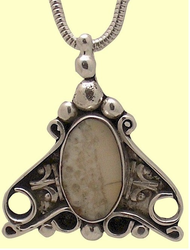 New!Sterling SIlver and Fossil Ivory VictorianAmulet