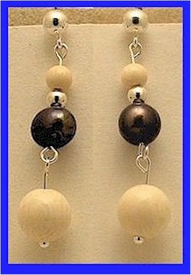 Pacific Athapascan Bead Earrings IIIridescent Freshwater Pearl and Mammoth Ivory $55.50