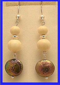 Pacific Athapascan Bead Earrings IIIIridescent Freshwater Pearl and Mammoth Ivory Beads$57.50