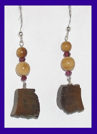 Paleo IndianBead and BlockEarringsGarnet and Dark Mammoth Ivory$52.50