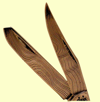"""<b><font size = 4 color =""""#800000""""><i>Random Pattern Damascus Steel</i></font><br><font size = 4 color =""""#0000FF"""">Case</font><br>2-Blade<br>Tiny Trapper<br>Scrimshaw<br>With<br>Fossil Ivory<br>Scales<br>2 3/8"""" Closed</b>"""