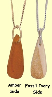 Reversible Arctic Amber and Fossil Ivory Teardrop TalismanSALE!20% OFF!