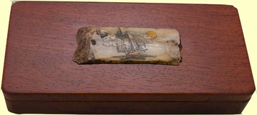 Rosewood Keepsake Box With Scrimshaw Fossil Walrus Bark Ivory Plaque