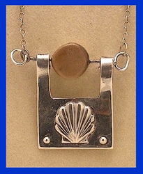 Scallop Shell Talisman IIIFossil Walrus And Mammoth Ivory And Sterling Silver