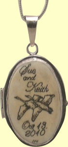 <b>Scrimshaw<br>and<br>Sterling Silver<br> Lockets<br>Choose From<br>Two Sizes</b>