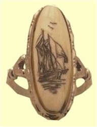 Scrimshaw Graceful Ladies' RingEmbossed Sterling Silver