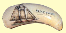 "ScrimshawSperm WhaleToothPortrait:""American Fishing Schooner Belle S. Neal"" Gallery Display"
