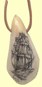 ScrimshawSperm Whale Tooth TipTiki PendantAvailable only in Maryland